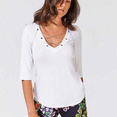 GUESS maglietta manica tre quarti bianca con scollo a v