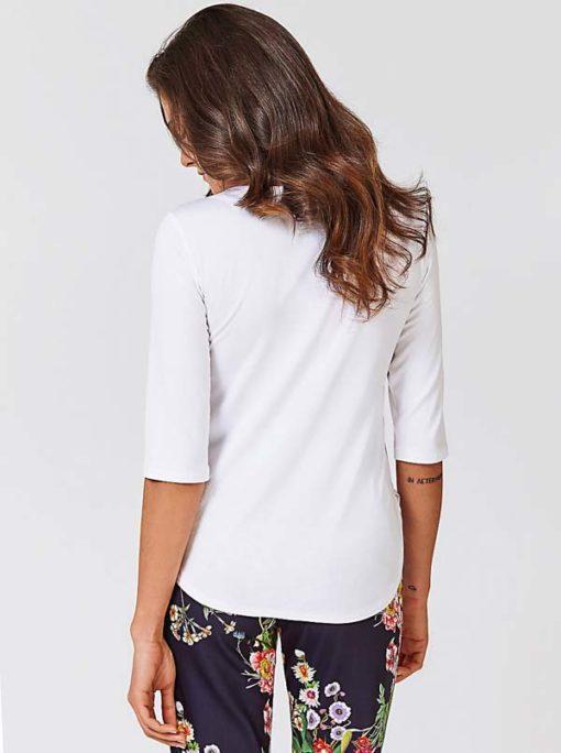 GUESS maglietta manica tre quarti bianca con scollo a v-2