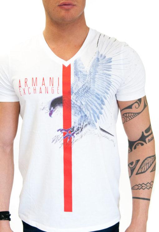 ARMANI EXCHANGE t-shirt uomo bianca con stampa aquila 1