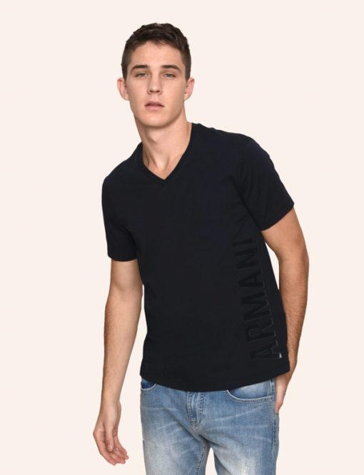 A|X t-shirt uomo scollo a v con logo laterale Armani Exchange