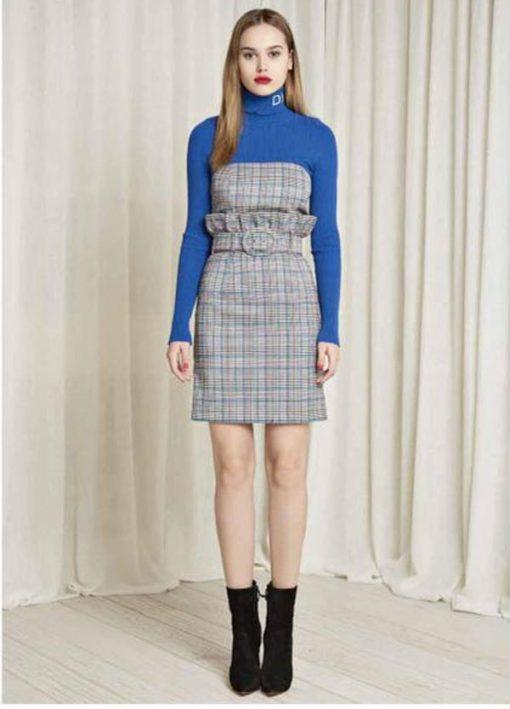 DENNY ROSE abito da donna a quadretti con cintura