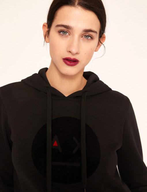 Armani Exchange feloa nera da donna con cappuccio e smile -3