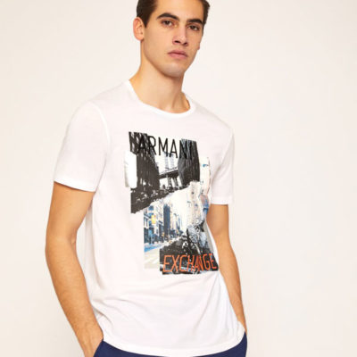 Armani Exchange t-shirt uomo bianca stampa New York
