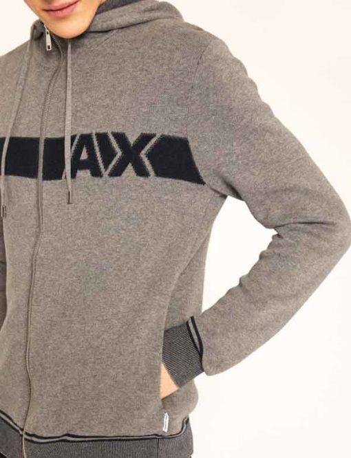 ARMANI Exchange maglia uomo grigia con zip e cappuccio-3