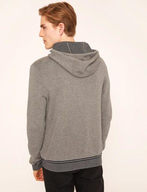 ARMANI Exchange maglia uomo grigia con zip e cappuccio-2
