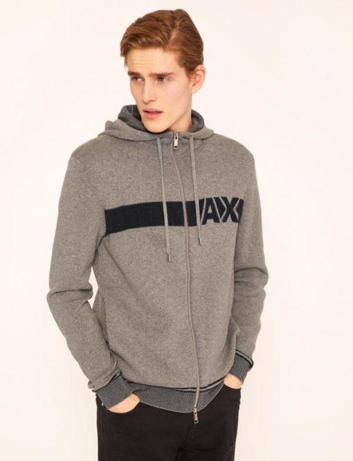 ARMANI Exchange maglia uomo grigia con zip e cappuccio