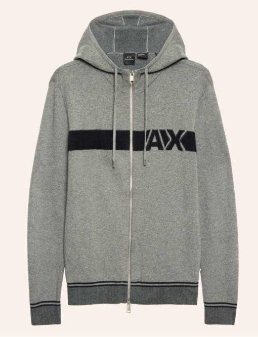 ARMANI Exchange maglia uomo grigia con zip e cappuccio-1
