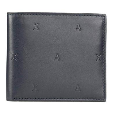 Armani Exchange portafoglio blu maschile con logo A|X all over