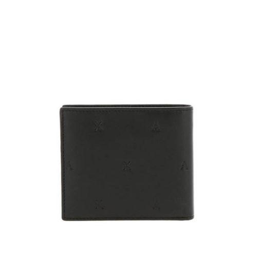 Armani Exchange portafoglio nero maschile con logo A|X all over-2
