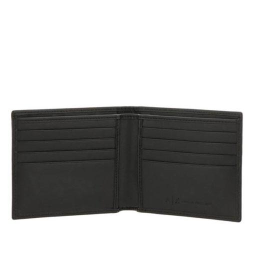 Armani Exchange portafoglio nero maschile con logo A|X all over-3
