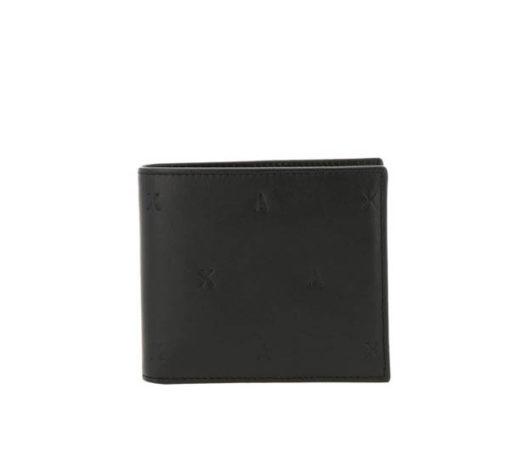 Armani Exchange portafoglio nero maschile con logo A|X all over