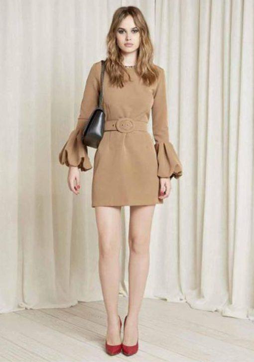 DENNY ROSE abito corto con cintura e profili maculati -1