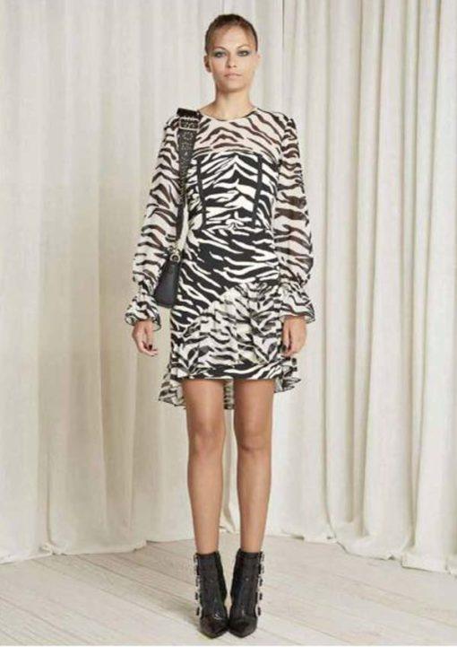 Denny Rose abito corto zebrato manica lunga