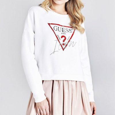 GUESS felpa donna corta bianca con logo