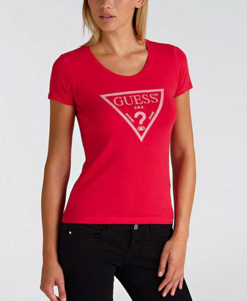 GUESS maglietta fucsia mezza manica con logo da donna