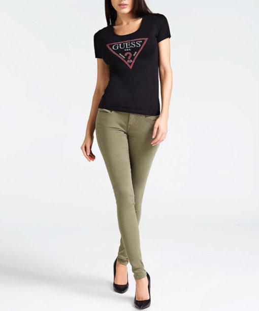 GUESS maglietta nera mezza manica con logo da donna -2