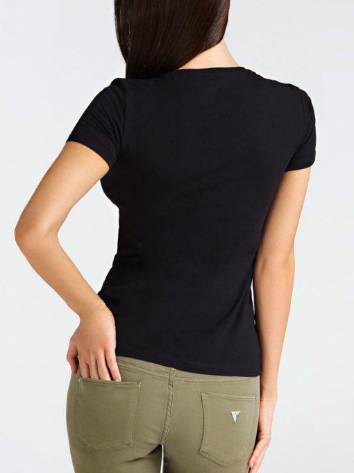 GUESS maglietta nera mezza manica con logo da donna -3