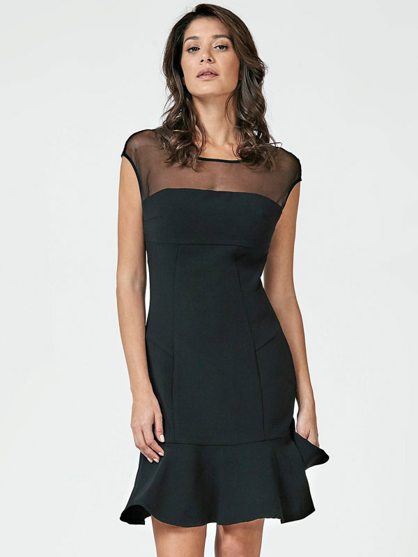 new product 94b78 3527d ABITO NERO GUESS DONNA CON TULLE