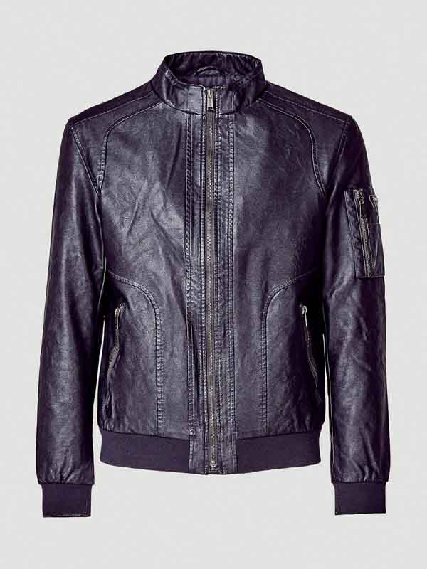 new style 7af0a 5d015 GIUBBOTTO UOMO GUESS BOMBER NERO ECOPELLE