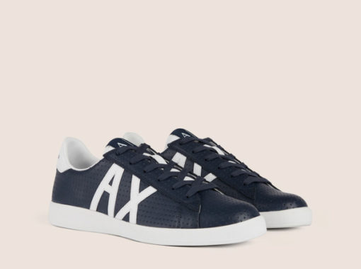 ARMANI EXCHANGE scarpa in pelle lavorata blu Armani Exchange-1