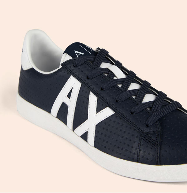 ARMANI EXCHANGE scarpa in pelle lavorata blu Armani Exchange-3 01cb7d4793e