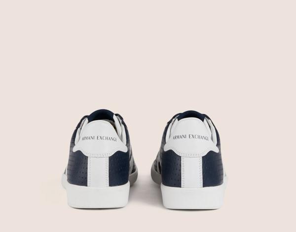 ARMANI EXCHANGE scarpa in pelle lavorata blu Armani Exchange-4 f58e1dab9b8