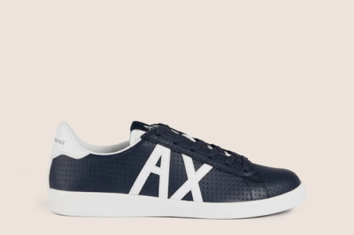 ARMANI EXCHANGE scarpa in pelle lavorata blu Armani Exchange