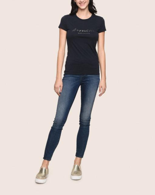 Armani Exchange jeans scuro vita alta da donna -1