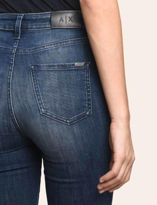 Armani Exchange jeans scuro vita alta da donna -3