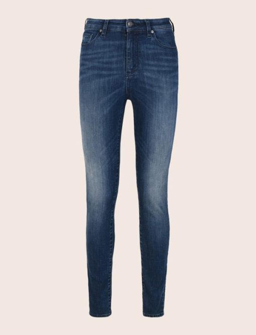 Armani Exchange jeans scuro vita alta da donna -2