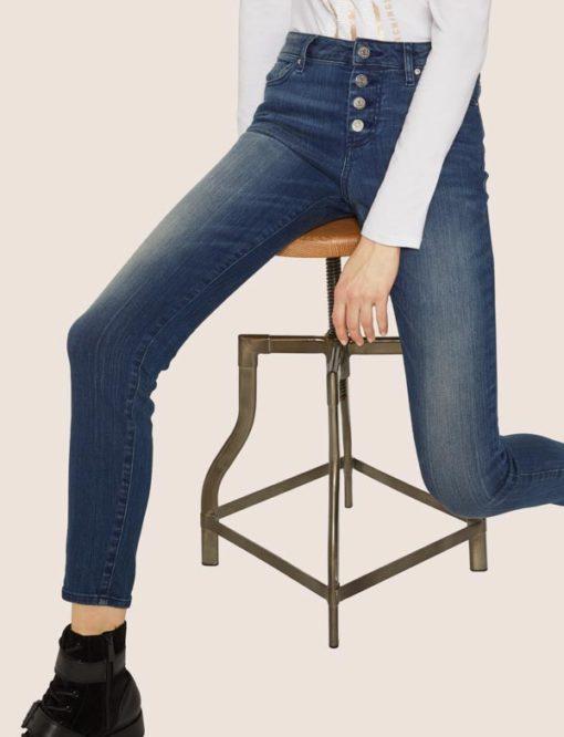 ARMANI EXCHANGE jeans da donna con bottoni vita alta-2