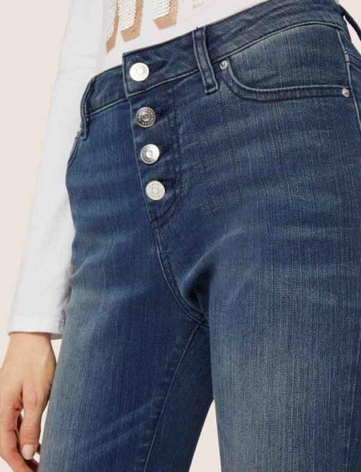 ARMANI EXCHANGE jeans da donna con bottoni vita alta-1