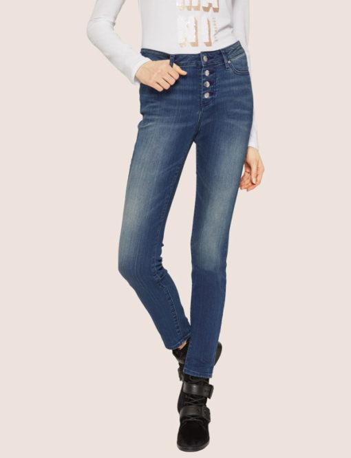 ARMANI EXCHANGE jeans da donna con bottoni vita alta