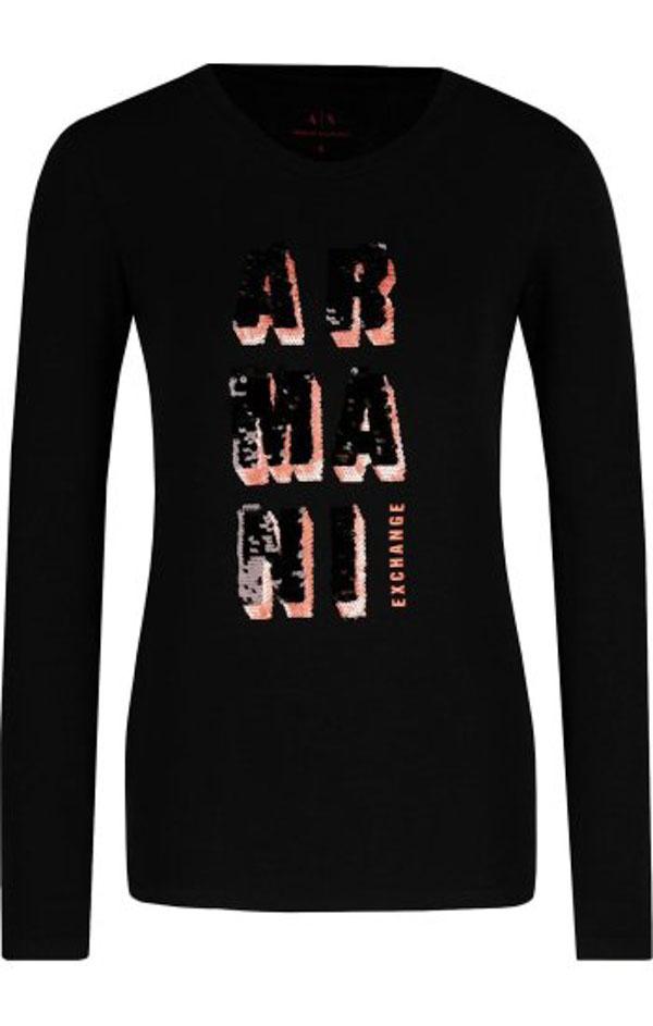 Armani Exchange t-shirt manica lunga nera con logo in paillettes -1 f79e4b473f02