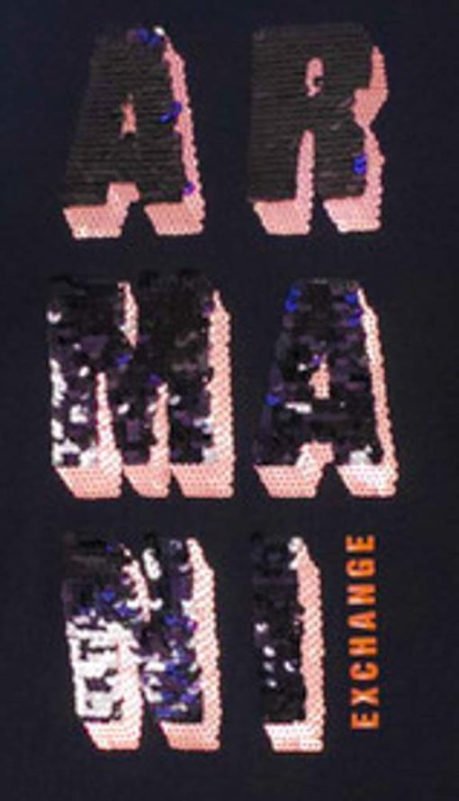 Armani Exchange t-shirt manica lunga nera con logo in paillettes -2
