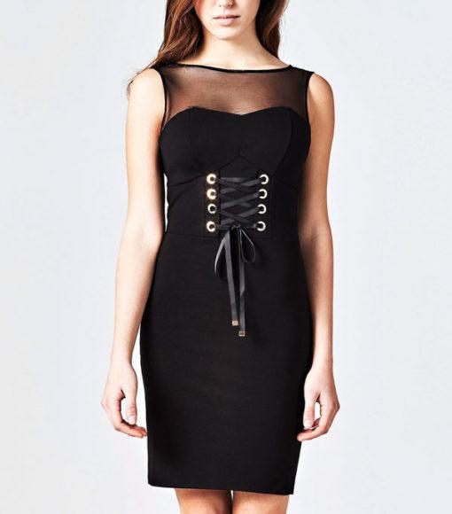 GUESS vestito da donna nero con lacci