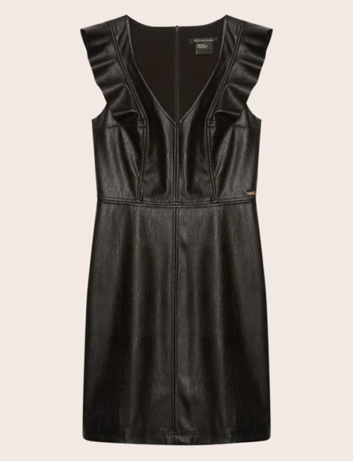 Armani Exchange abito nero ecopelle corto da donna-5
