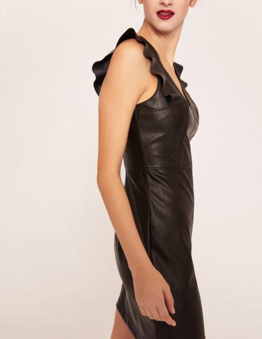 Armani Exchange abito nero ecopelle corto da donna-2