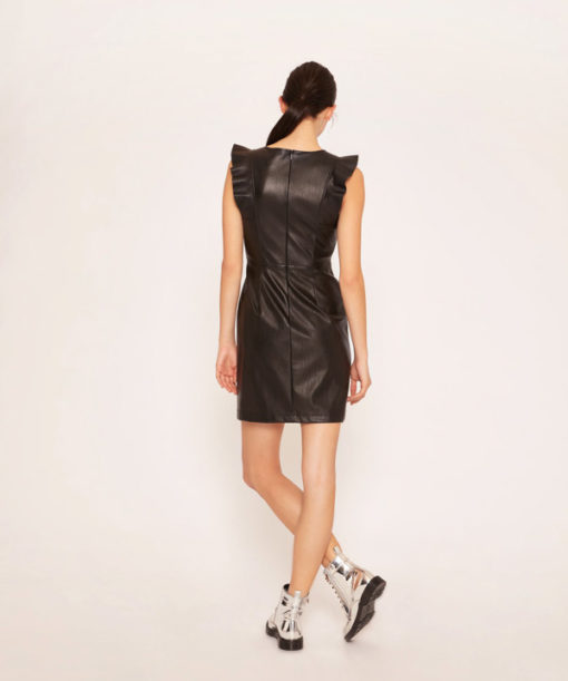 Armani Exchange abito nero ecopelle corto da donna-4
