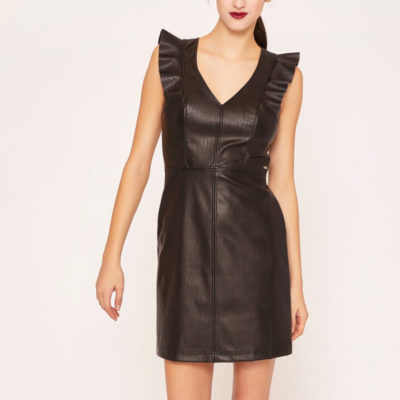 Armani Exchange abito nero ecopelle corto da donna