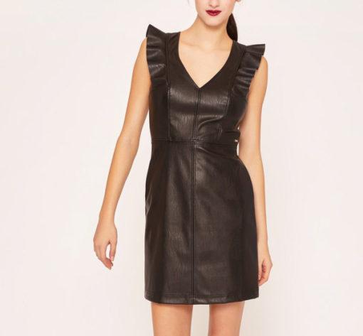 Armani Exchange abito nero ecopelle corto da donna