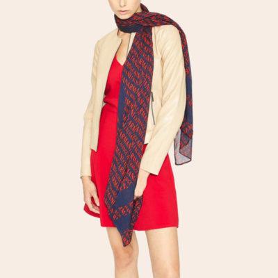 ARMANI EXCHANGE foulard logato rosso e blu da donna -4