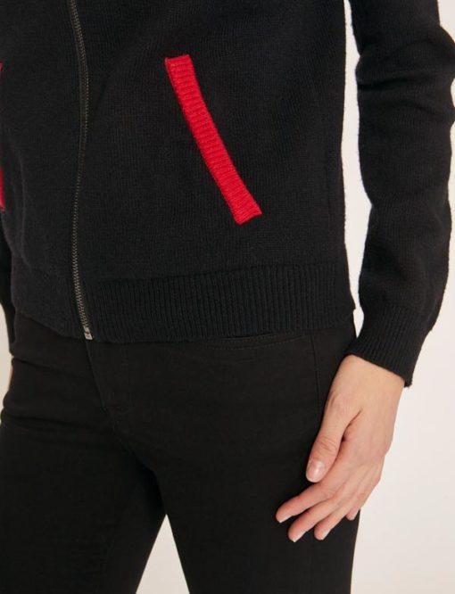 cardigan nero da donna con zip Armani Exchange -3