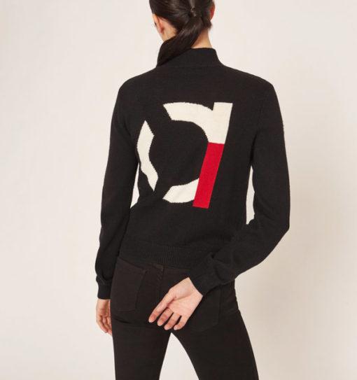 cardigan nero da donna con zip Armani Exchange -2