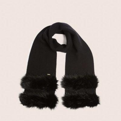 Armani Exchange sciarpa donna nera con pelliccia