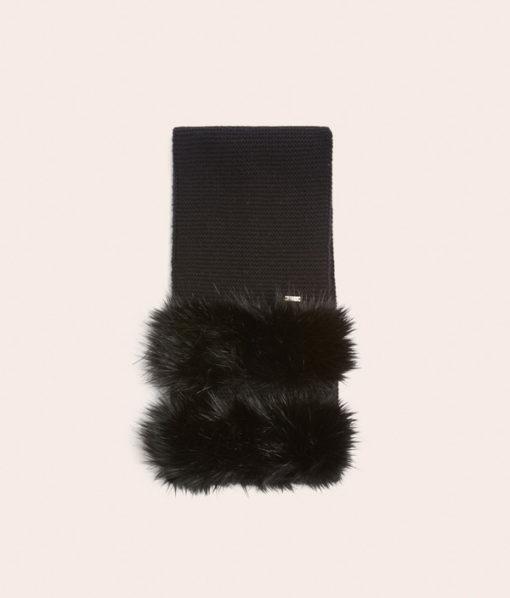 Armani Exchange sciarpa donna nera con pelliccia -3