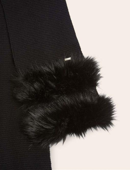 Armani Exchange sciarpa donna nera con pelliccia -2