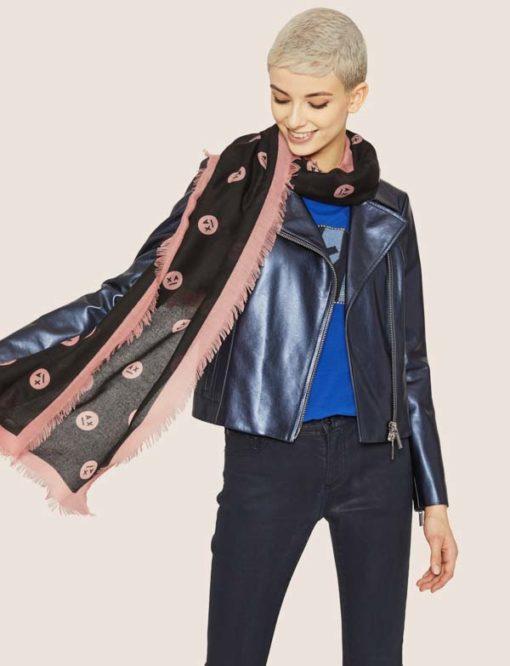 Armani Exchange sciarpa da donna con stampa smile-3