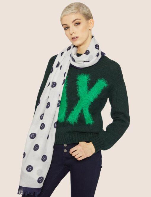 Armani Exchange sciarpa da donna con stampa smile-2