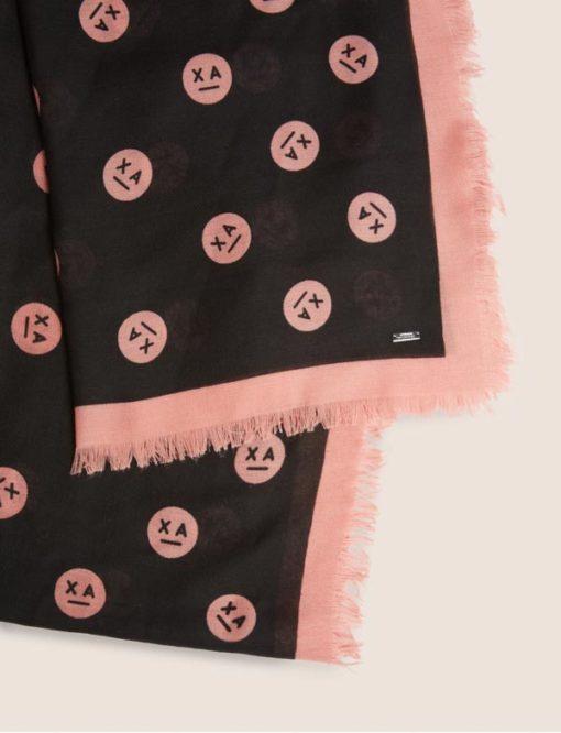 Armani Exchange sciarpa da donna con stampa smile-1